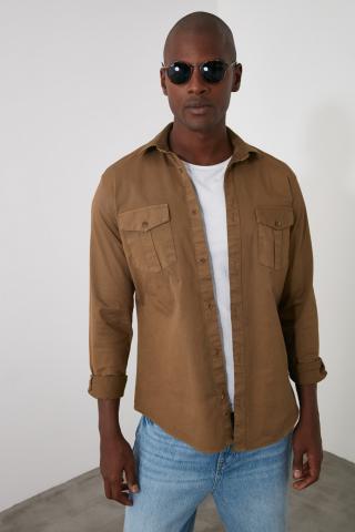 Trendyol Khai Mens Shirt pánské Khaki S