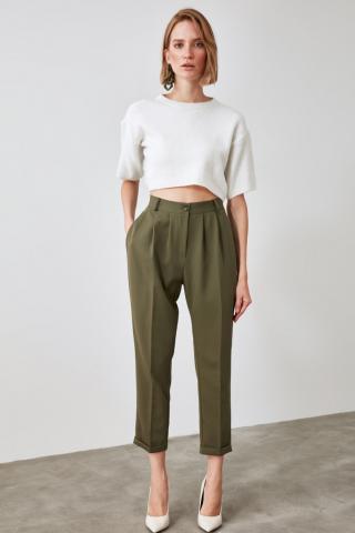 Trendyol Khai Pleated Pants dámské Khaki 34