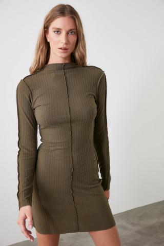 Trendyol Khai Sewing Detailed Suppository Knitted Dress dámské Khaki XS