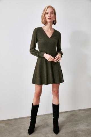 Trendyol Khai V Collar Knitted Dress dámské Khaki S