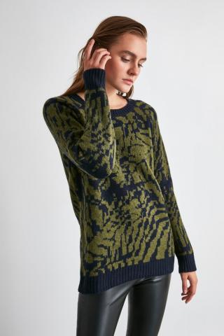 Trendyol Khaki Jacquard Knit Sweater dámské S