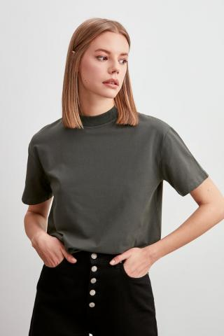Trendyol Khaki Steep Collar Basic Knitted T-Shirt dámské XS