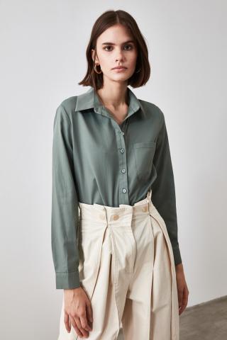 Trendyol Khali Oversize Shirt dámské Khaki 34