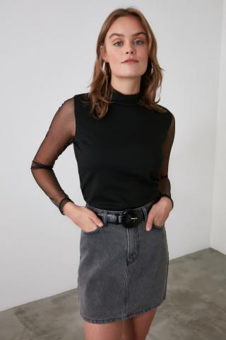 Trendyol Knitted Blouse with Black Sleeve Tulle Back DetailING dámské XS