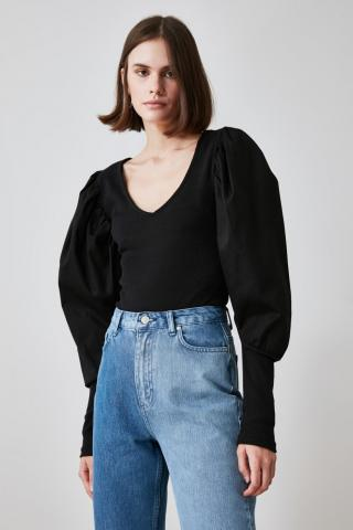 Trendyol Knitted Body WITH Black Sleeve Detailing Press-studs dámské XS