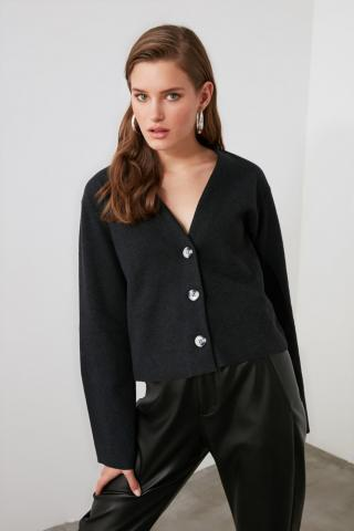 Trendyol Knitted Cardigan with Anthracite Button dámské S