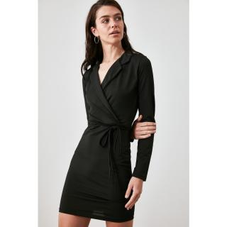 Trendyol Knitted Dress WITH Black Binding Detail dámské XS