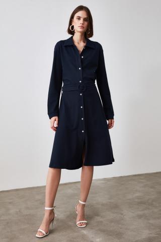 Trendyol Knitted Dress with Navy Belt dámské S