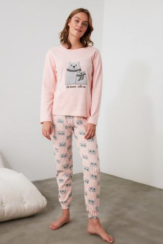 Trendyol Knitted Pajama Set with Salmon Embroidery dámské L