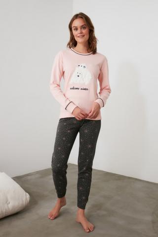 Trendyol Knitted Pajama Set with Salmon Embroidery dámské XL