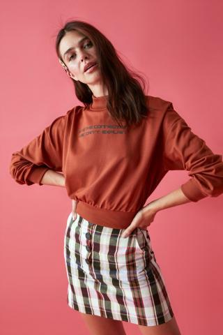 Trendyol Knitted Sweatshirt with Cinnamon Sheer Collar Printed dámské XS