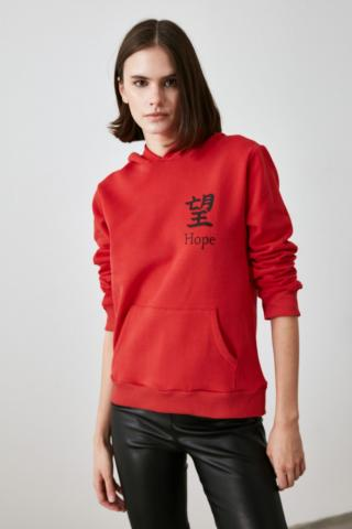Trendyol Knitted Sweatshirt with Red Front and Back Printed Hood dámské XS