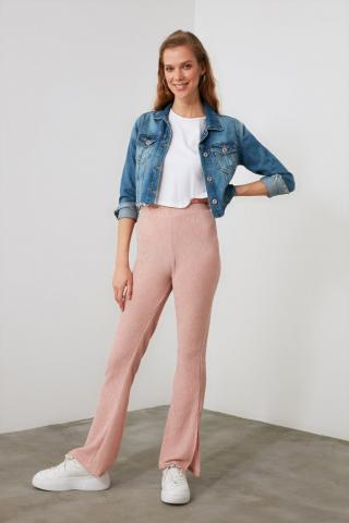 Trendyol Knitted Trousers with Powder Slits dámské powder pink S