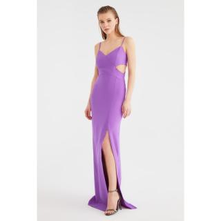 Trendyol Light Purple Low-Cut Detailed Evening Dress & Graduation Gown dámské 34