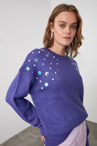 Trendyol Lila Accessory Detailed Knitwear Sweater dámské Lilac S