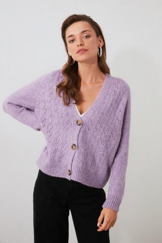Trendyol Lila Ajurlu Button Detailed Knitwear Cardigan dámské Lilac L