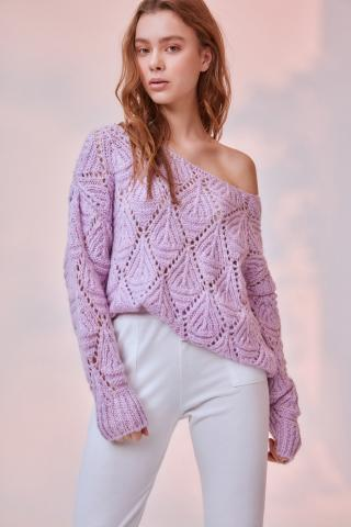 Trendyol Lila Ajurlu Knitwear Sweater dámské Lilac M
