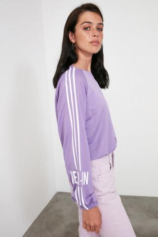 Trendyol Lila Back Printed Knitted Sweatshirt dámské Lilac XS