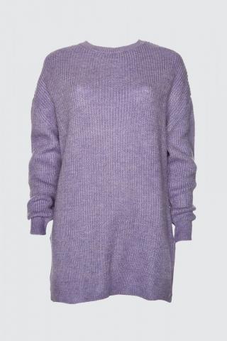 Trendyol Lila Bike Collar Oversize Knitwear Sweater dámské Lilac S