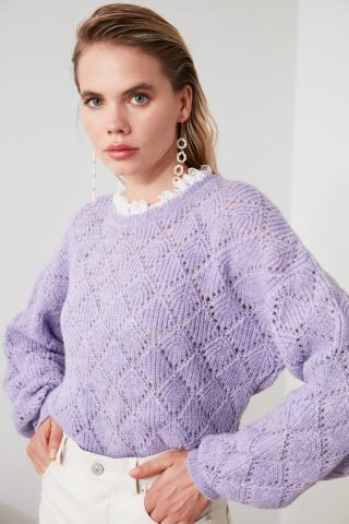 Trendyol Lila Blindlace Detail Knit Sweater dámské Lilac S