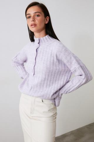 Trendyol Lila Button Detailed Knitwear Sweater dámské Lilac S