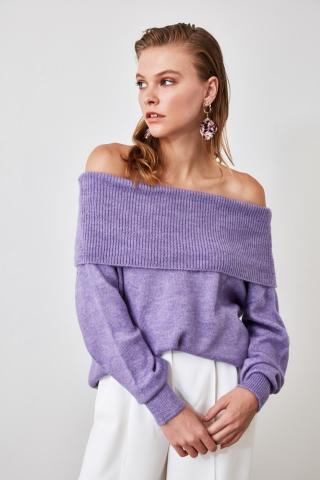 Trendyol Lila Carmen Collar Knitwear Sweater dámské Lilac S