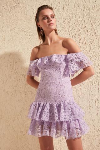 Trendyol Lila Carmen Collar Lace Dress dámské Lilac 36