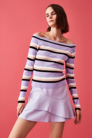 Trendyol Lila Carmen Collar Striped Knitwear Sweater dámské Lilac S