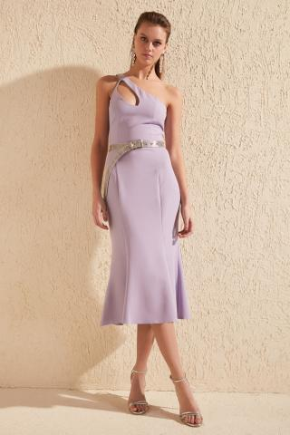 Trendyol Lila Collar Detailed Dress dámské Lilac 34