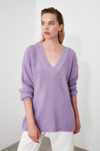 Trendyol Lila Collar Detailed Knitwear Sweater dámské Lilac S