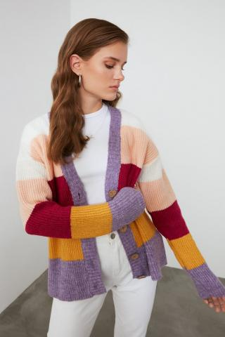Trendyol Lila Color Block Knitwear Cardigan dámské Lilac S