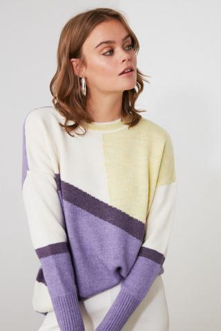 Trendyol Lila Color Block Knitwear Sweater dámské Lilac S