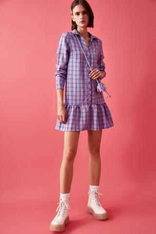Trendyol Lila Flywheel Button Dress dámské Lilac 34
