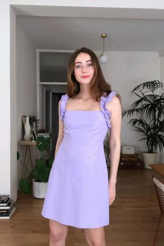 Trendyol Lila Frill Detailed Dress dámské Lilac 34