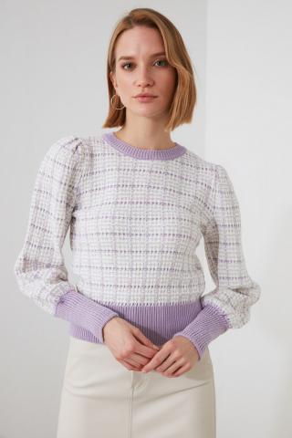 Trendyol Lila Glitter Knitwear Sweater dámské Lilac L