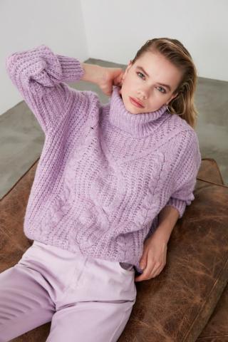 Trendyol Lila Hair Braided Knitwear Sweater dámské Lilac M