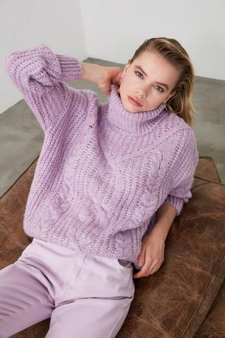 Trendyol Lila Hair Braided Knitwear Sweater dámské Lilac S