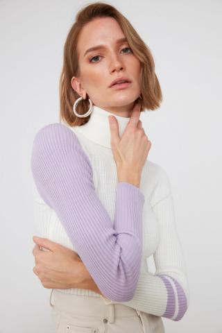 Trendyol Lila Handle Color Block Knitwear Sweater dámské Lilac S