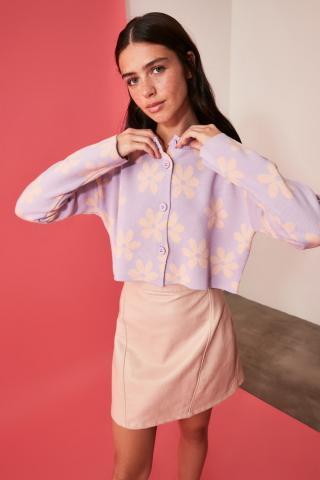 Trendyol Lila Jacquard Knitwear Cardigan dámské Lilac S