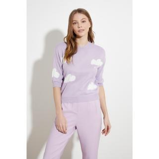 Trendyol Lila Jacquin Knitwear Sweater dámské Lilac S