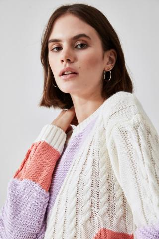 Trendyol Lila KnitTed Detailed Color Block Knitwear Sweater dámské Lilac S