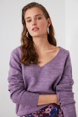 Trendyol Lila Knitted Detailed Knitwear Sweater dámské Lilac L