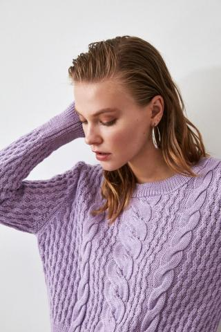 Trendyol Lila Knitted Detailed Knitwear Sweater dámské Lilac M