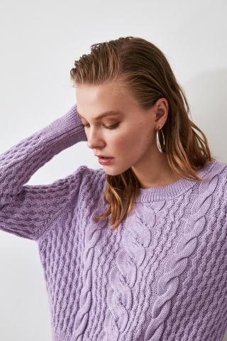 Trendyol Lila Knitted Detailed Knitwear Sweater dámské Lilac M