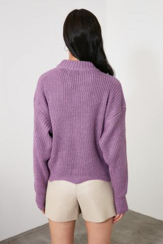 Trendyol Lila KnitTed Detailed Knitwear Sweater dámské Lilac S