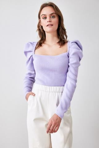Trendyol Lila Knitwear Detailed Square Collar Knitwear Sweater dámské Lilac S