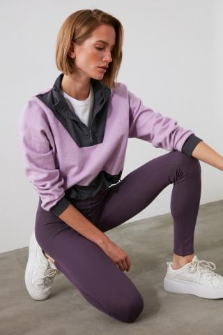 Trendyol Lila Parachute Detailed Oversize Knitted Sweatshirt dámské Lilac XS