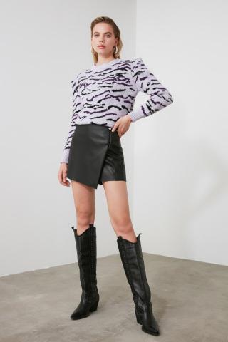 Trendyol Lila Patterned Knitwear Sweater dámské Lilac S