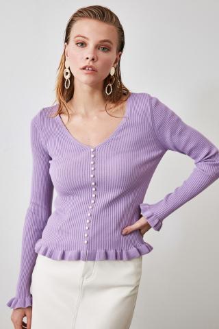 Trendyol Lila Pearl Detailed Knitwear Sweater dámské Lilac S