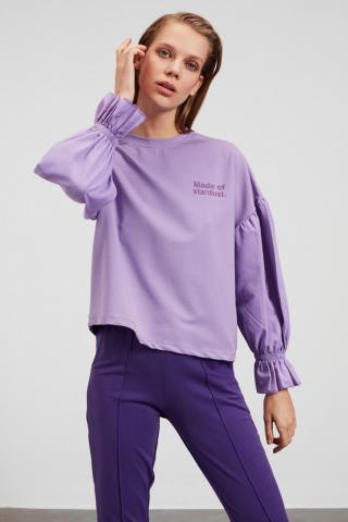Trendyol Lila Poplin Detailed Printed Basic Knitted Sweatshirt dámské Lilac XS